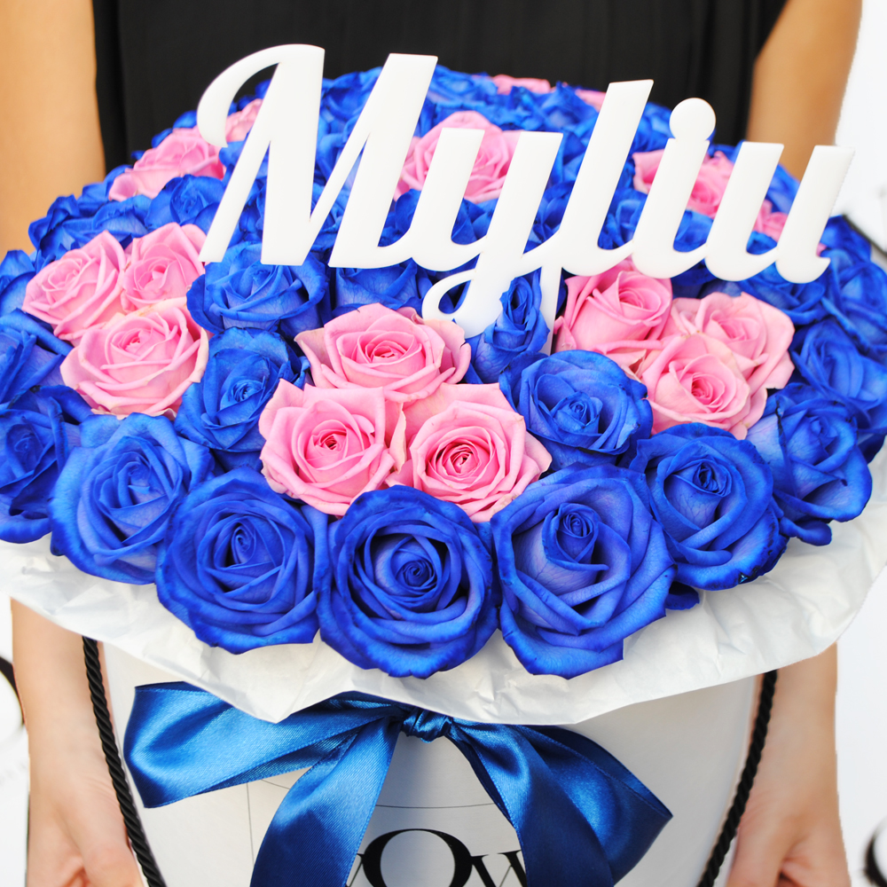 Mėlynos rožės dėžutėje